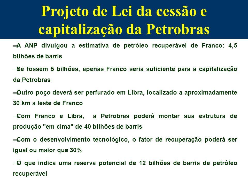 Projeto de Lei da cessão e capitalização da Petrobras A ANP divulgou a estimativa de petróleo recuperável de Franco: 4,5 bilhões de barris Se fossem 5