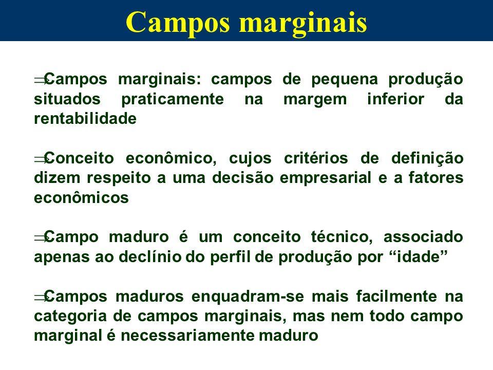 Campos marginais: campos de pequena produção situados praticamente na margem inferior da rentabilidade Conceito econômico, cujos critérios de definiçã