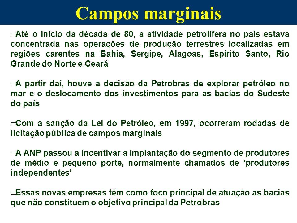 Companhias independentes As companhias de petróleo de pequeno e médio porte (independentes) normalmente substituem as majors quando os campos tornam-se marginais As companhias independentes de petróleo desempenham importante papel na indústria dos Estados Unidos e Canadá, totalizando, aproximadamente, 7 mil empresas nos EUA e 1.500 no Canadá, sendo responsáveis por mais de 300.000 empregos diretos e uma produção diária de 2 milhões de barris No Brasil, cerca de 50% dos campos brasileiros são marginais e representam cerca de 1% das reservas provadas do país, podendo tornar em um mercado atraente para as companhias petrolíferas independentes de pequeno e médio porte