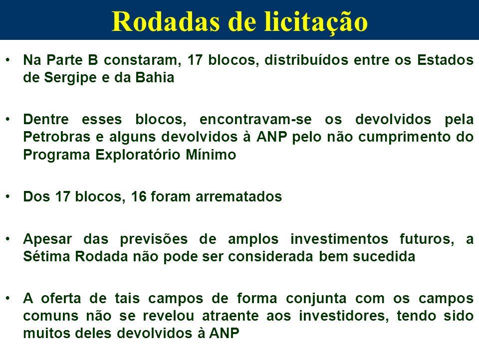 Na Parte B constaram, 17 blocos, distribuídos entre os Estados de Sergipe e da Bahia Dentre esses blocos, encontravam-se os devolvidos pela Petrobras