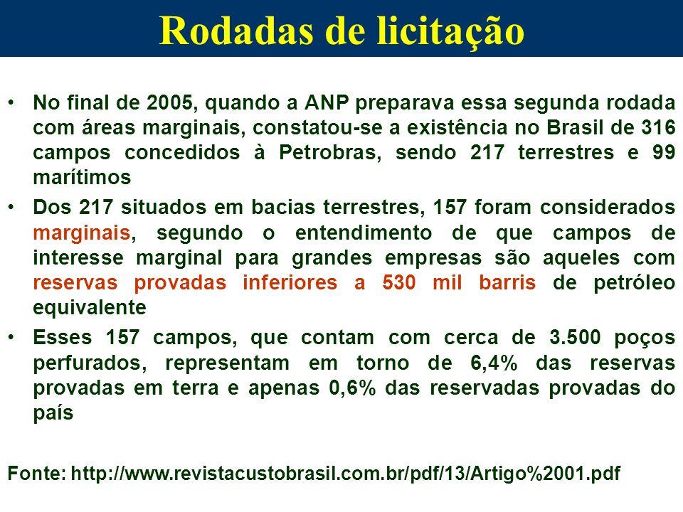 No final de 2005, quando a ANP preparava essa segunda rodada com áreas marginais, constatou-se a existência no Brasil de 316 campos concedidos à Petro