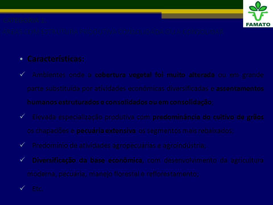 Características: Ambientes onde a cobertura vegetal foi muito alterada ou em grande parte substituída por atividades econômicas diversificadas e assentamentos humanos estruturados e consolidados ou em consolidação; Elevada especialização produtiva com predominância do cultivo de grãos os chapadões e pecuária extensiva os segmentos mais rebaixados; Predomínio de atividades agropecuárias e agroindústria; Diversificação da base econômica, com desenvolvimento da agricultura moderna, pecuária, manejo florestal e reflorestamento; Etc.
