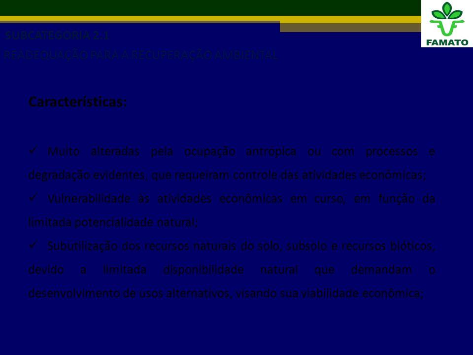 SUBCATEGORIA 2.1 READEQUAÇÃO PARA A RECUPERAÇÃO AMBIENTAL Características: Muito alteradas pela ocupação antrópica ou com processos e degradação evidentes, que requeiram controle das atividades econômicas; Vulnerabilidade às atividades econômicas em curso, em função da limitada potencialidade natural; Subutilização dos recursos naturais do solo, subsolo e recursos bióticos, devido a limitada disponibilidade natural que demandam o desenvolvimento de usos alternativos, visando sua viabilidade econômica;