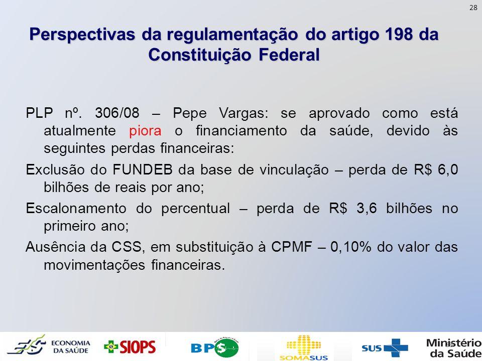Perspectivas da regulamentação do artigo 198 da Constituição Federal PLP nº. 306/08 – Pepe Vargas: se aprovado como está atualmente piora o financiame