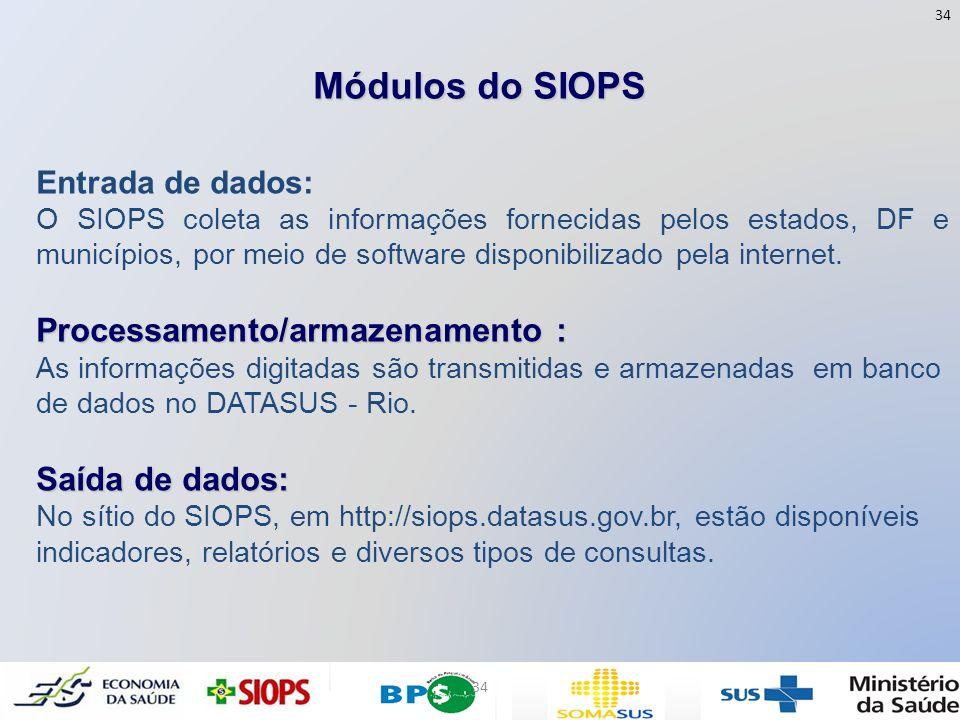 Módulos do SIOPS Entrada de dados: O SIOPS coleta as informações fornecidas pelos estados, DF e municípios, por meio de software disponibilizado pela