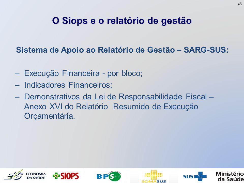 O Siops e o relatório de gestão Sistema de Apoio ao Relatório de Gestão – SARG-SUS: –Execução Financeira - por bloco; –Indicadores Financeiros; –Demon