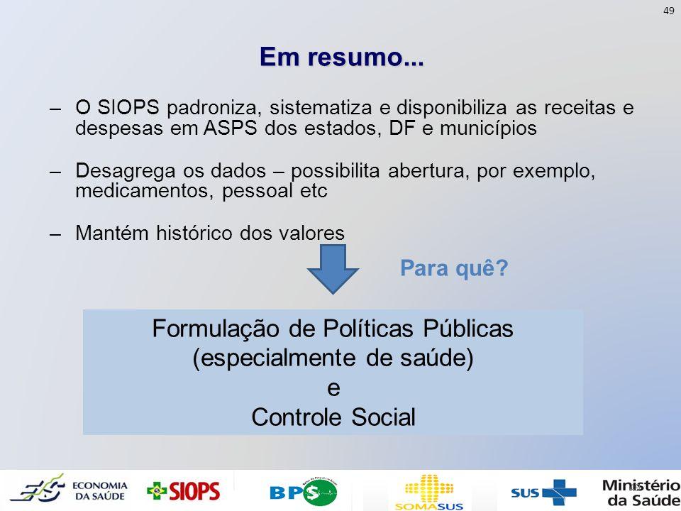 Em resumo... –O SIOPS padroniza, sistematiza e disponibiliza as receitas e despesas em ASPS dos estados, DF e municípios –Desagrega os dados – possibi
