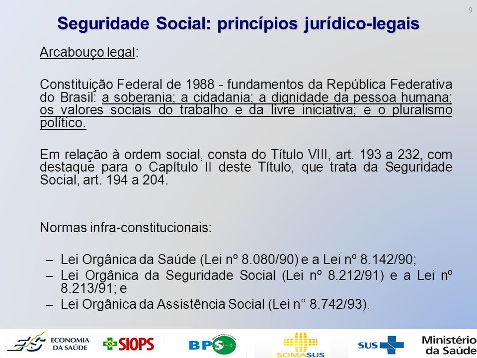 Seguridade Social: princípios jurídico-legais Arcabouço legal: Constituição Federal de 1988 - fundamentos da República Federativa do Brasil: a soberan