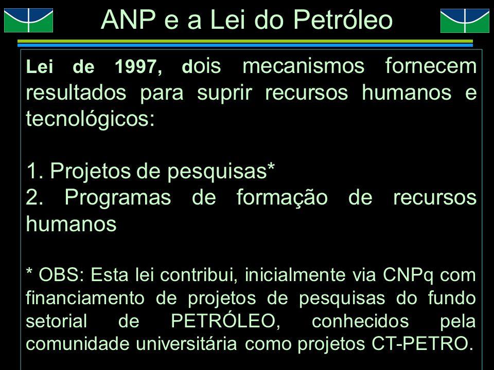 PROGRAMA DE RECURSOS HUMANOS DA ANP PRH/ANP Iniciativa inovadora que congrega o Estado Brasileiro/Universidade/Setor produtivo no sentido de formar profissionais com ênfase em áreas de interesse do setor de petróleo, gás e biocombustíveis.