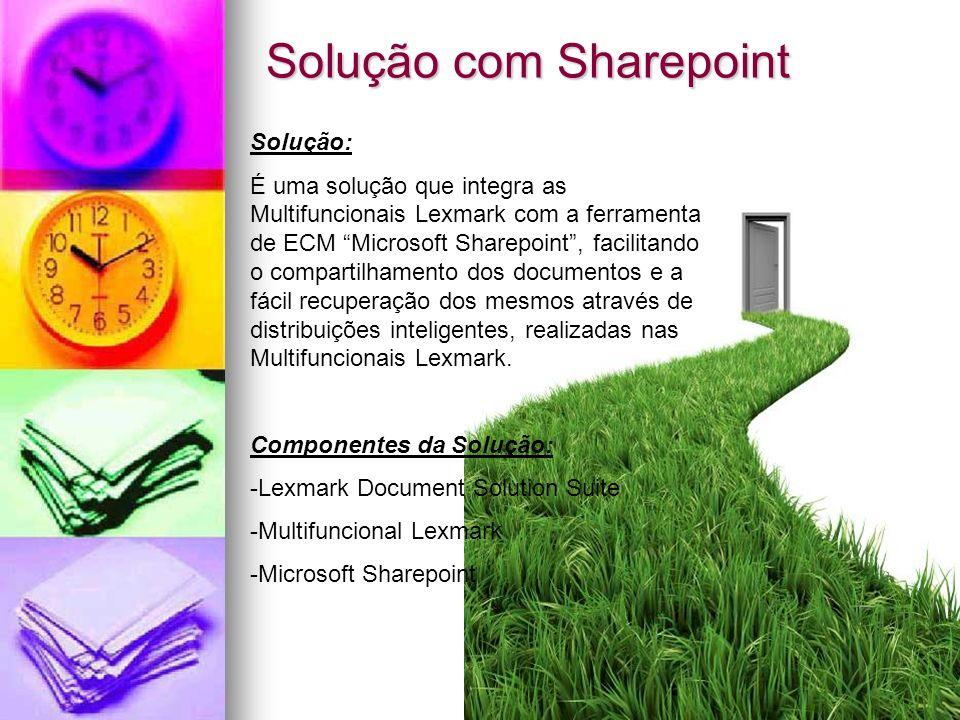 Solução com Sharepoint Solução: É uma solução que integra as Multifuncionais Lexmark com a ferramenta de ECM Microsoft Sharepoint, facilitando o compa