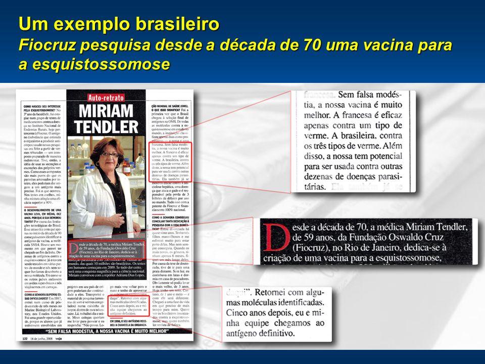 18 Um exemplo brasileiro Fiocruz pesquisa desde a década de 70 uma vacina para a esquistossomose