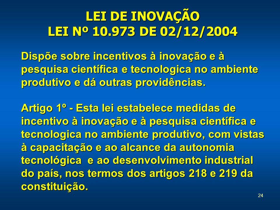 24 LEI DE INOVAÇÃO LEI Nº 10.973 DE 02/12/2004 Dispõe sobre incentivos à inovação e à pesquisa científica e tecnologica no ambiente produtivo e dá out