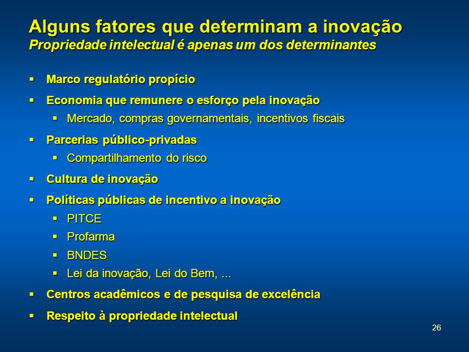 26 Alguns fatores que determinam a inovação Propriedade intelectual é apenas um dos determinantes Marco regulatório propício Marco regulatório propíci