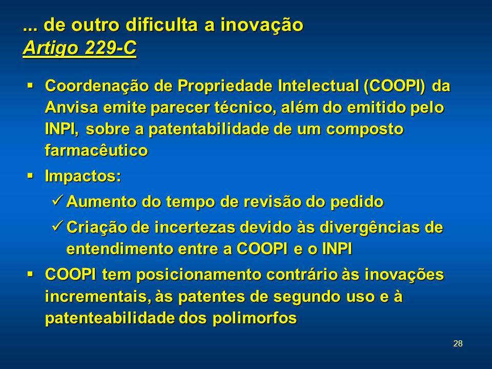 28... de outro dificulta a inovação Artigo 229-C Coordenação de Propriedade Intelectual (COOPI) da Anvisa emite parecer técnico, além do emitido pelo