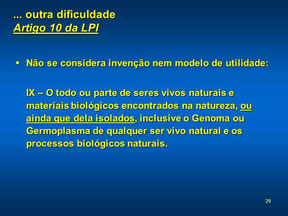 29... outra dificuldade Artigo 10 da LPI Não se considera invenção nem modelo de utilidade: Não se considera invenção nem modelo de utilidade: IX – O