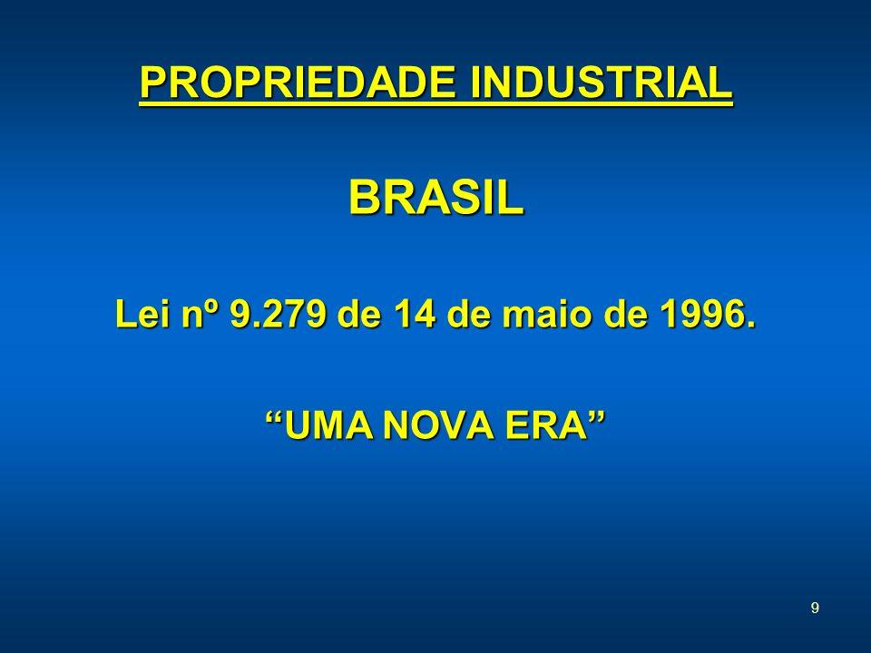 9 PROPRIEDADE INDUSTRIAL BRASIL Lei nº 9.279 de 14 de maio de 1996. UMA NOVA ERA