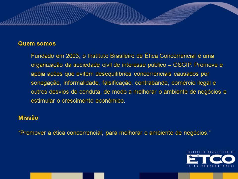 Quem somos Fundado em 2003, o Instituto Brasileiro de Ética Concorrencial é uma organização da sociedade civil de interesse público – OSCIP.