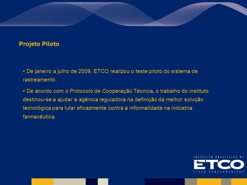 Projeto Piloto De janeiro a julho de 2009, ETCO realizou o teste piloto do sistema de rastreamento.