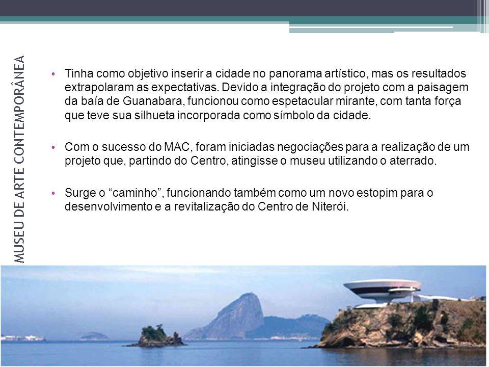O CAMINHO NIEMEYER Concebido pelo arquiteto Oscar Niemeyer Ocupou parte do aterrado, na direção da zona sul.