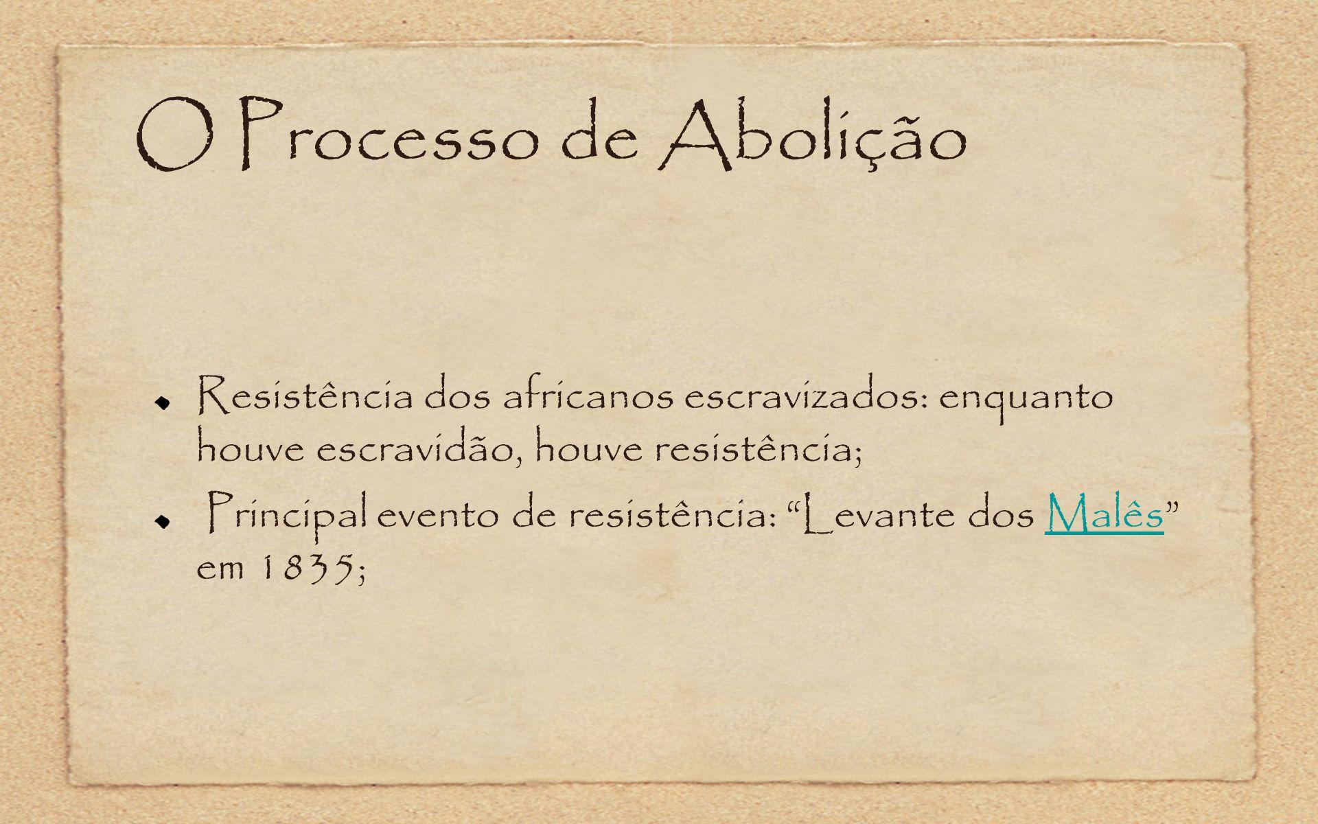 O Processo de Abolição Resistência dos africanos escravizados: enquanto houve escravidão, houve resistência; Principal evento de resistência: Levante