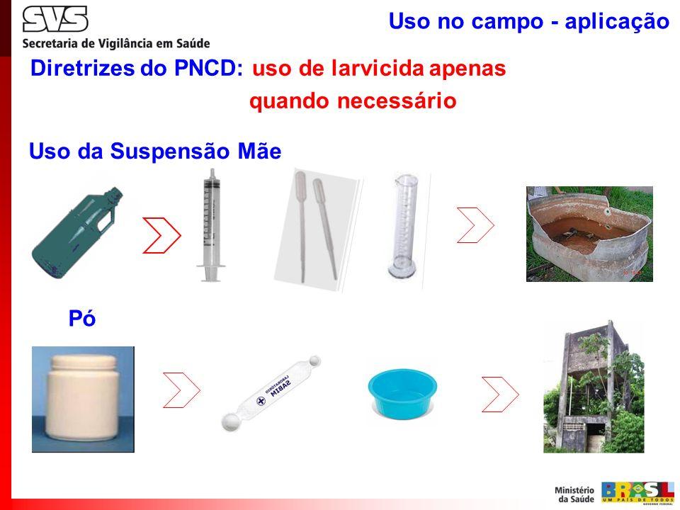 Diretrizes do PNCD: uso de larvicida apenas quando necessário Uso da Suspensão Mãe Pó Uso no campo - aplicação
