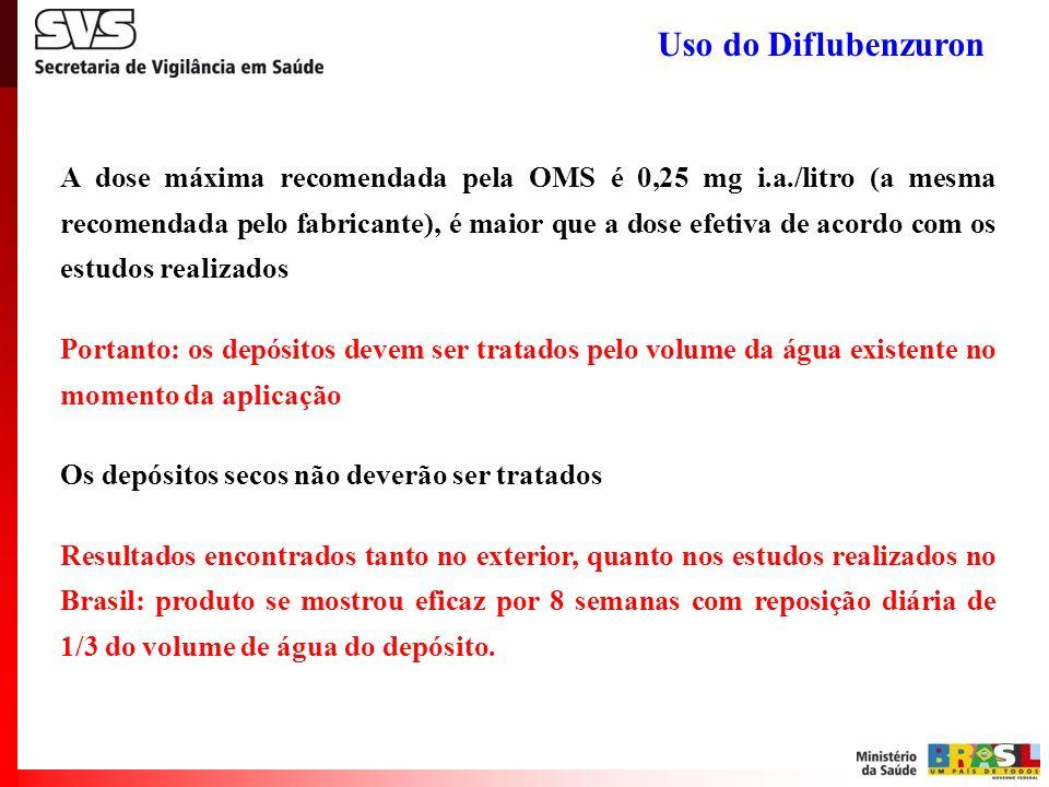 A dose máxima recomendada pela OMS é 0,25 mg i.a./litro (a mesma recomendada pelo fabricante), é maior que a dose efetiva de acordo com os estudos rea