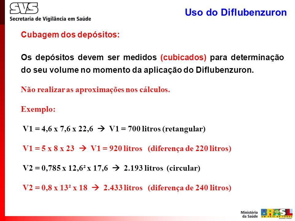 Cubagem dos depósitos: Os depósitos devem ser medidos (cubicados) para determinação do seu volume no momento da aplicação do Diflubenzuron. Não realiz