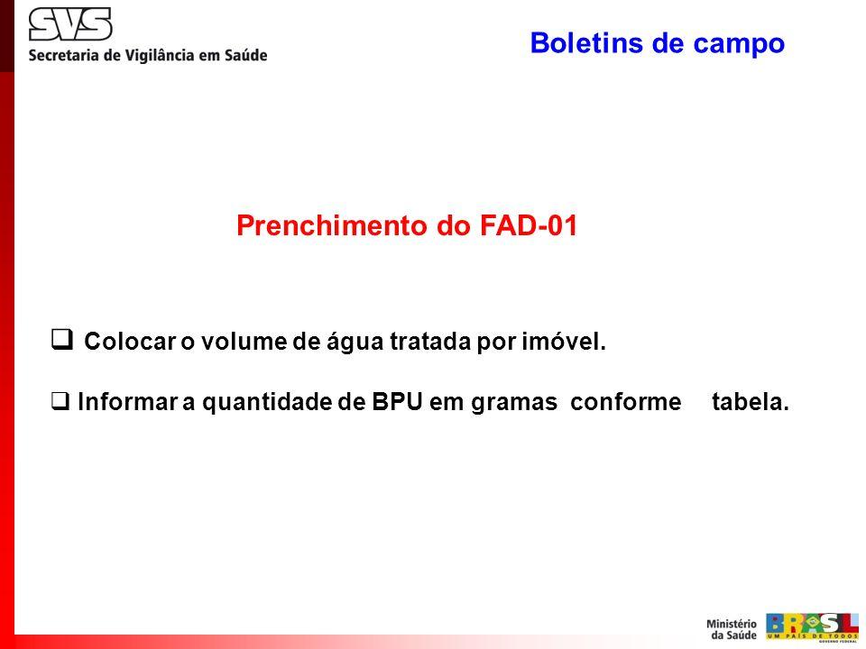 Prenchimento do FAD-01 Colocar o volume de água tratada por imóvel. Informar a quantidade de BPU em gramas conforme tabela. Boletins de campo