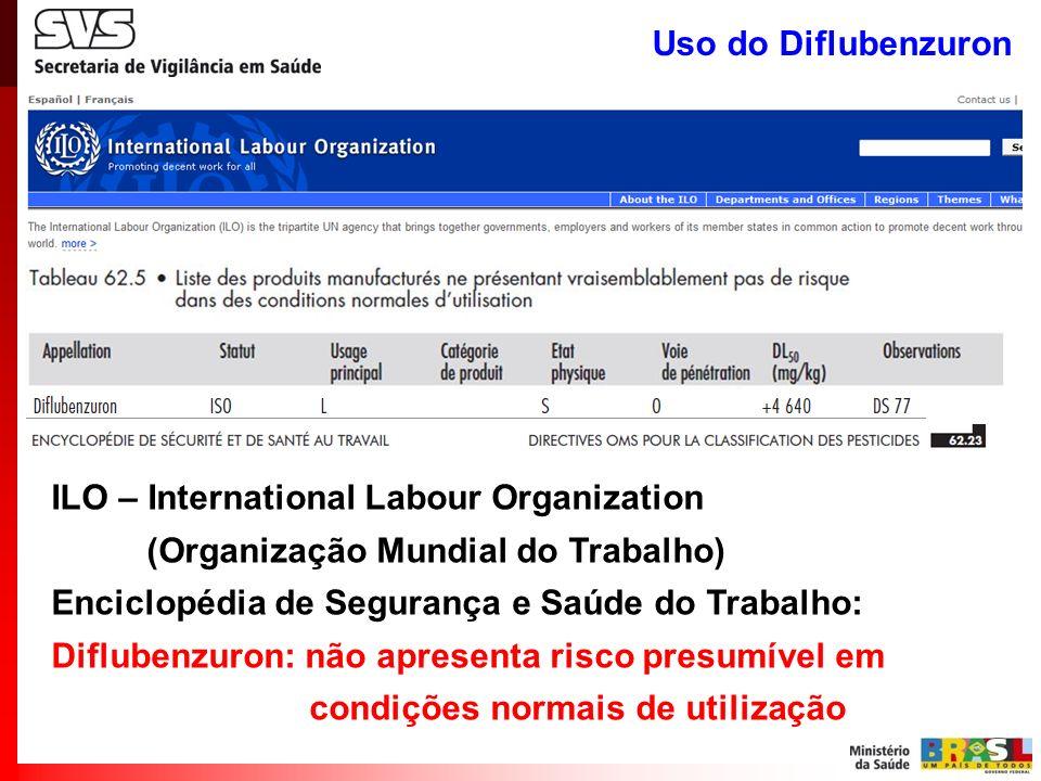 Uso do Diflubenzuron ILO – International Labour Organization (Organização Mundial do Trabalho) Enciclopédia de Segurança e Saúde do Trabalho: Difluben