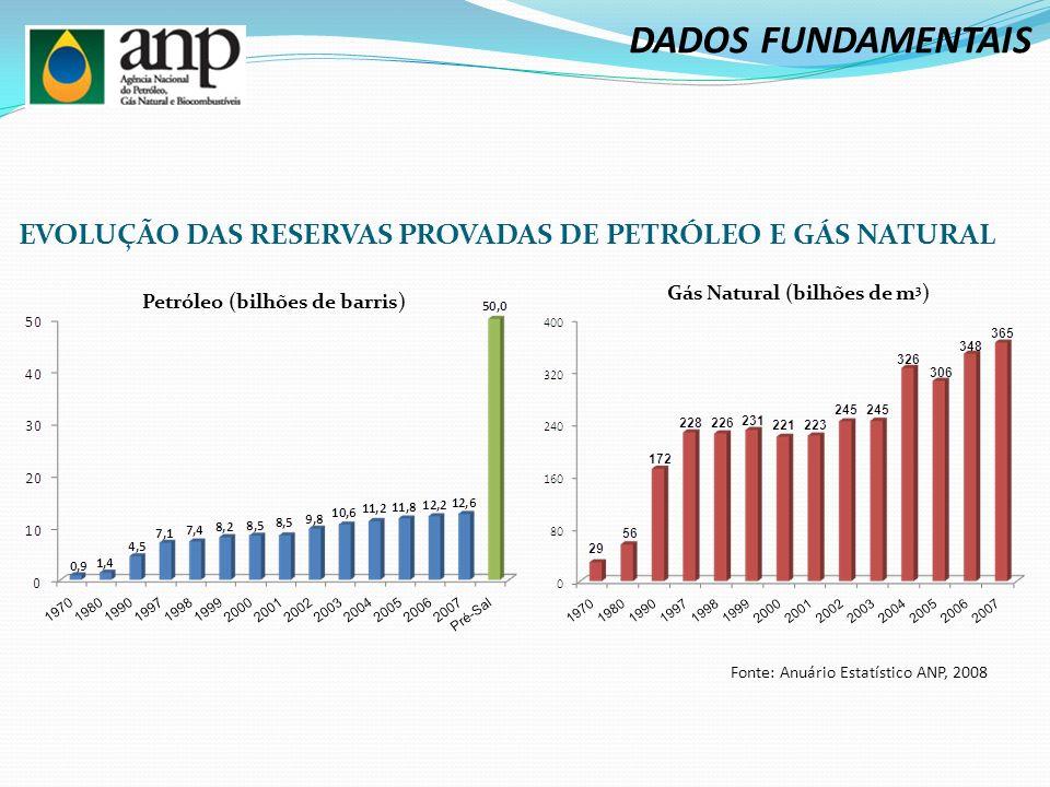 EVOLUÇÃO DAS RESERVAS PROVADAS DE PETRÓLEO E GÁS NATURAL Petróleo (bilhões de barris) Gás Natural (bilhões de m 3 ) Fonte: Anuário Estatístico ANP, 2008 DADOS FUNDAMENTAIS