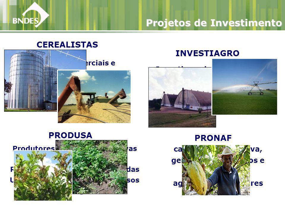 Incentivar o investimento no agronegócio pelas beneficiárias dos Programas de Investimento do Setor Agropecuário do Governo Federal INVESTIAGRO Projetos de Investimento CEREALISTAS PRODUSA Empresas comerciais e Cooperativas cerealistas nacionais.