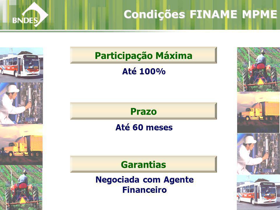 Até 100% Participação Máxima Condições FINAME MPME Garantias Negociada com Agente Financeiro Prazo Até 60 meses