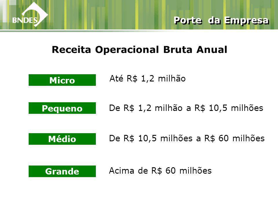Receita Operacional Bruta Anual Micro Até R$ 1,2 milhão Pequeno De R$ 1,2 milhão a R$ 10,5 milhões Médio De R$ 10,5 milhões a R$ 60 milhões Grande Acima de R$ 60 milhões Porte da Empresa