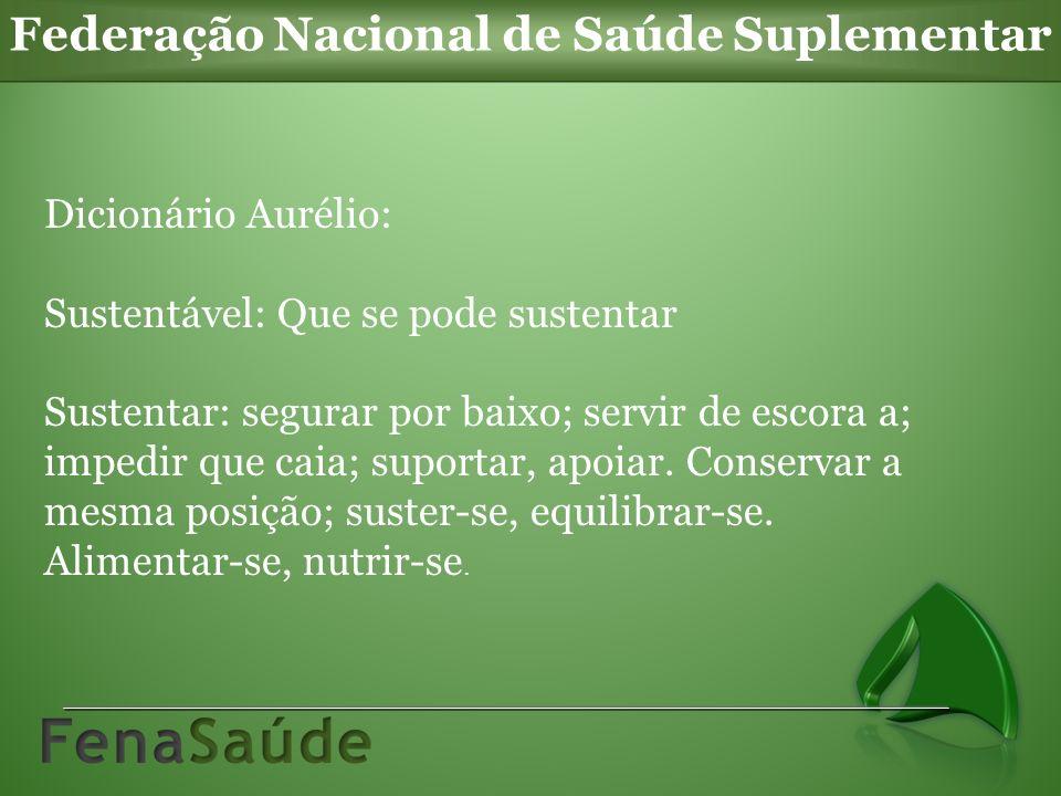 Dicionário Aurélio: Sustentável: Que se pode sustentar Sustentar: segurar por baixo; servir de escora a; impedir que caia; suportar, apoiar. Conservar