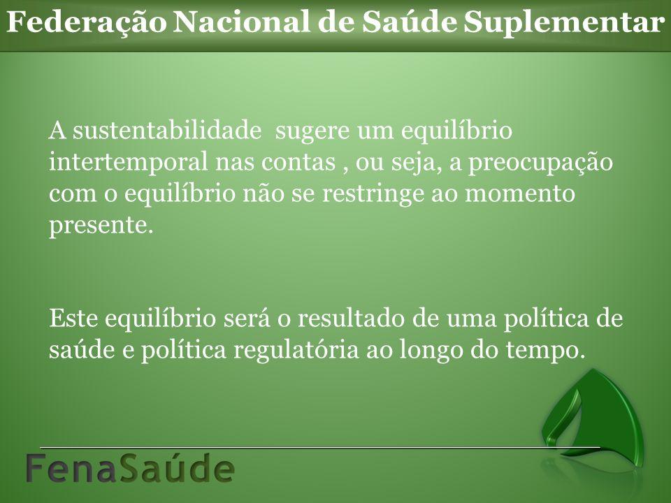 Federação Nacional de Saúde Suplementar A sustentabilidade sugere um equilíbrio intertemporal nas contas, ou seja, a preocupação com o equilíbrio não