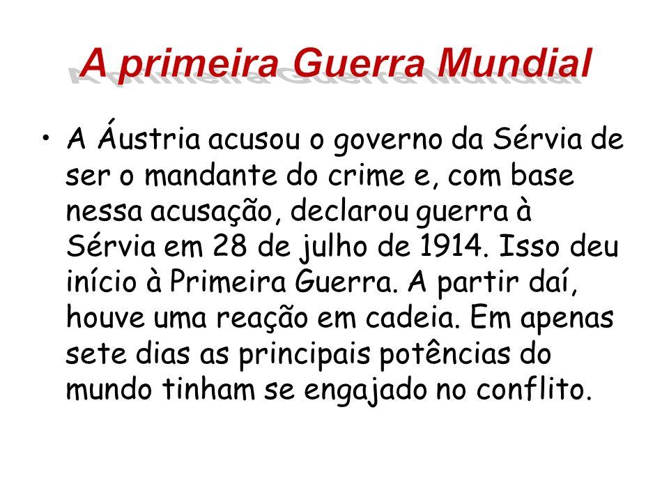 A Áustria acusou o governo da Sérvia de ser o mandante do crime e, com base nessa acusação, declarou guerra à Sérvia em 28 de julho de 1914. Isso deu