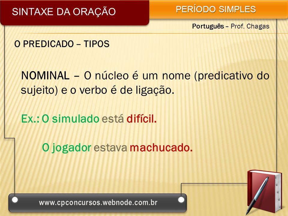 SINTAXE DA ORAÇÃO PERÍODO SIMPLES Português – Prof. Chagas O PREDICADO – TIPOS NOMINAL – O núcleo é um nome (predicativo do sujeito) e o verbo é de li