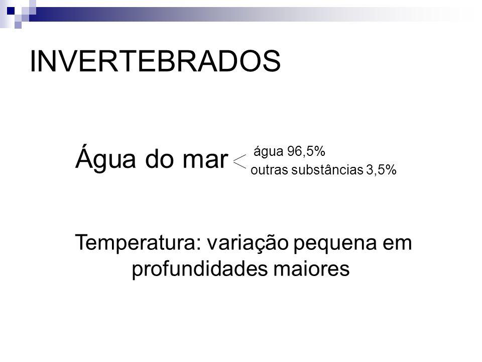 INVERTEBRADOS água 96,5% Água do mar outras substâncias 3,5% Temperatura: variação pequena em profundidades maiores