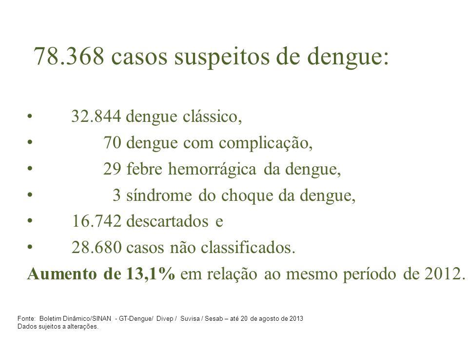 78.368 casos suspeitos de dengue: 32.844 dengue clássico, 70 dengue com complicação, 29 febre hemorrágica da dengue, 3 síndrome do choque da dengue, 16.742 descartados e 28.680 casos não classificados.