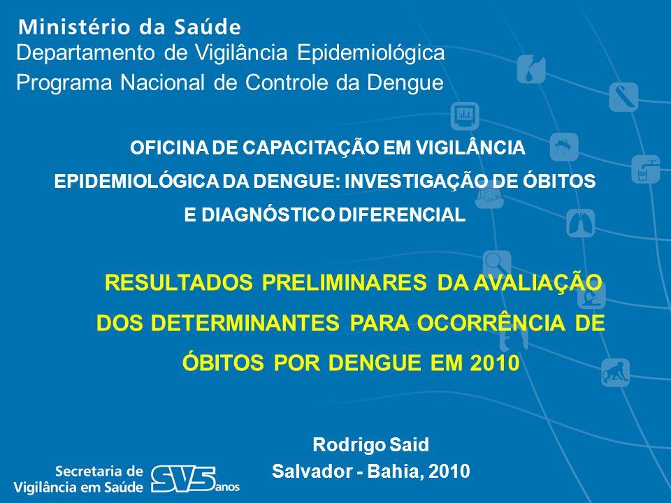 Rodrigo Said Salvador - Bahia, 2010 Departamento de Vigilância Epidemiológica Programa Nacional de Controle da Dengue RESULTADOS PRELIMINARES DA AVALI