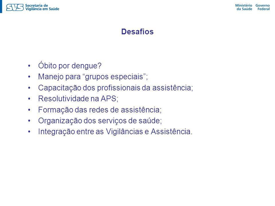 Desafios Óbito por dengue? Manejo para grupos especiais; Capacitação dos profissionais da assistência; Resolutividade na APS; Formação das redes de as