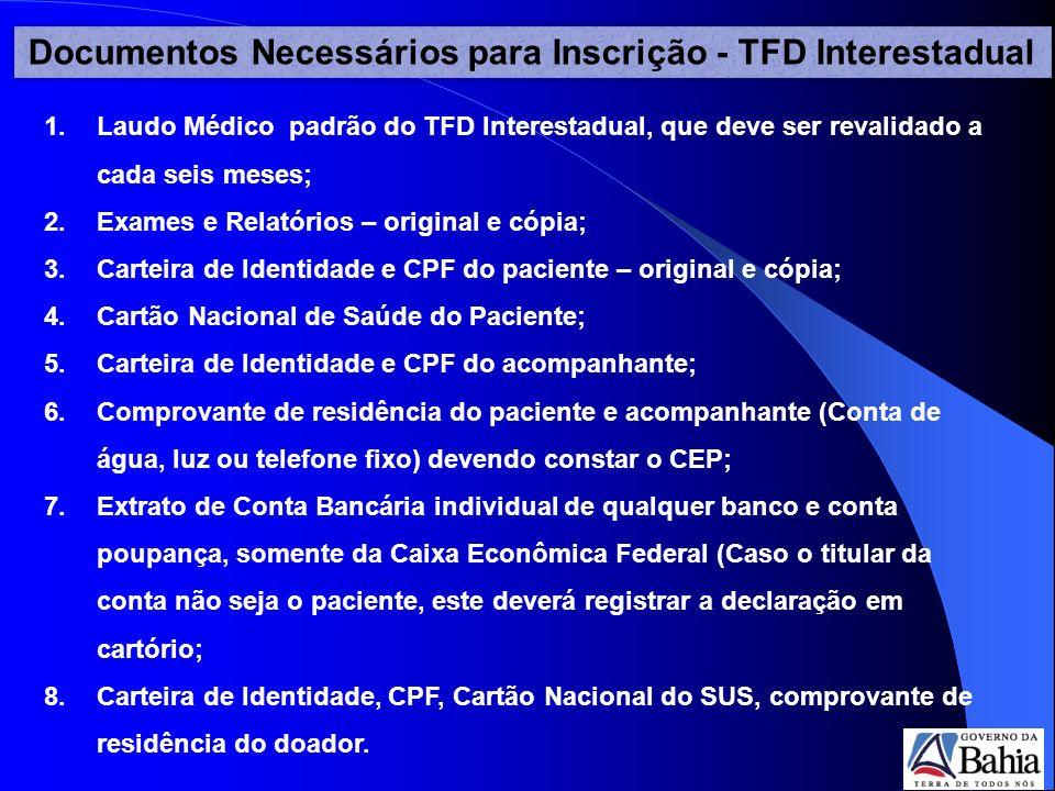 Documentos Necessários para Inscrição - TFD Interestadual 1.Laudo Médico padrão do TFD Interestadual, que deve ser revalidado a cada seis meses; 2.Exa