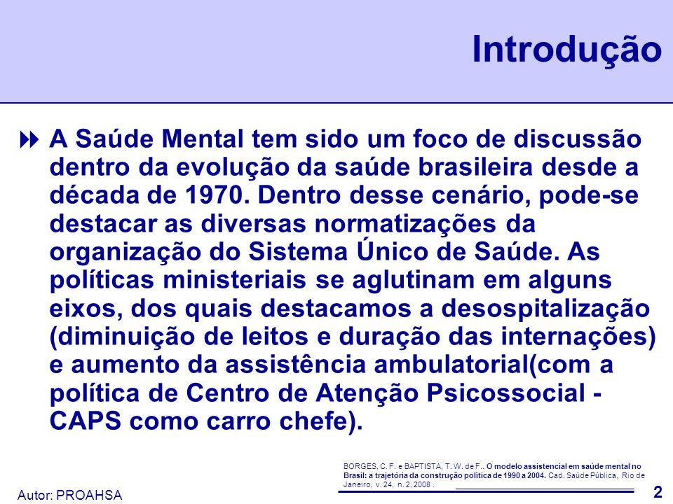 Autor: PROAHSA 3 Método A análise desse estudo foi realizada usando dados levantados das bases de dados do DATASUS (SIH, SIA, SIM, CNES, IBGE) e trabalhados de forma a dar uma idéia da evolução da assistência em saúde mental da Região Metropolitana de São Paulo nos últimos cinco anos.