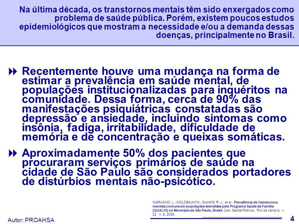 Autor: PROAHSA 5 O estudo a seguir foi realizado na área de cobertura do Programa Qualis (Saúde da Família), na cidade de São Paulo e investigou a prevalência de Transtornos Mentais Comuns.