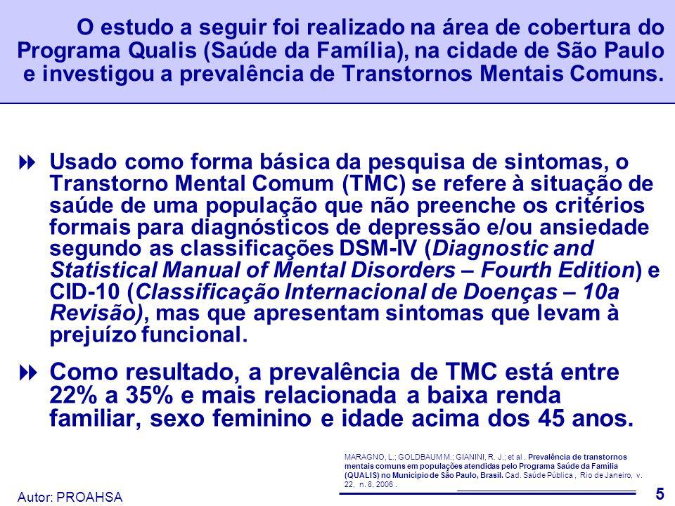 Autor: PROAHSA Observação Atualmente o Sistema de Informação de Atenção Básica (SIAB – DATASUS) não coleta dados de produção e atenção em saúde básica referentes à Saúde Mental.