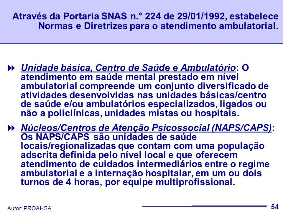 Autor: PROAHSA 55 Após a Portaria citada, os Centros de Atenção Psicossocial são regulamentados pela Portaria GM n.º 336 de 2002 e as Residências Terapêuticas pela Portaria n.º 246 de 2005.