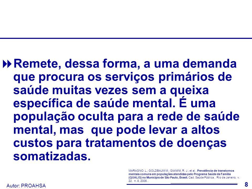 Autor: PROAHSA 9 O Inquérito de saúde ISA-Capital, de 2003, apresenta resultados semelhantes, evidenciando uma porcentagem considerável da população como portadora de TMC.