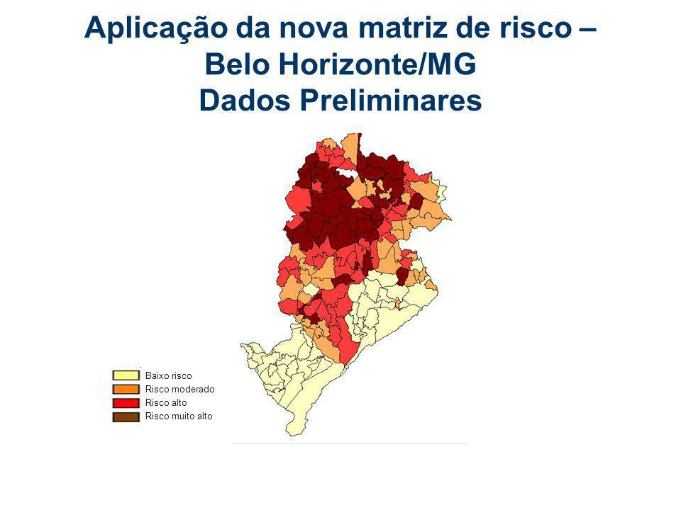 Aplicação da nova matriz de risco – Belo Horizonte/MG Dados Preliminares Baixo risco Risco moderado Risco alto Risco muito alto