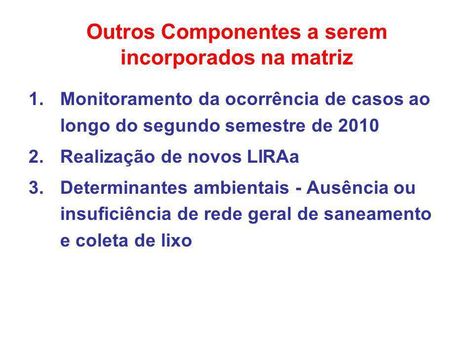 Outros Componentes a serem incorporados na matriz 1.Monitoramento da ocorrência de casos ao longo do segundo semestre de 2010 2.Realização de novos LI