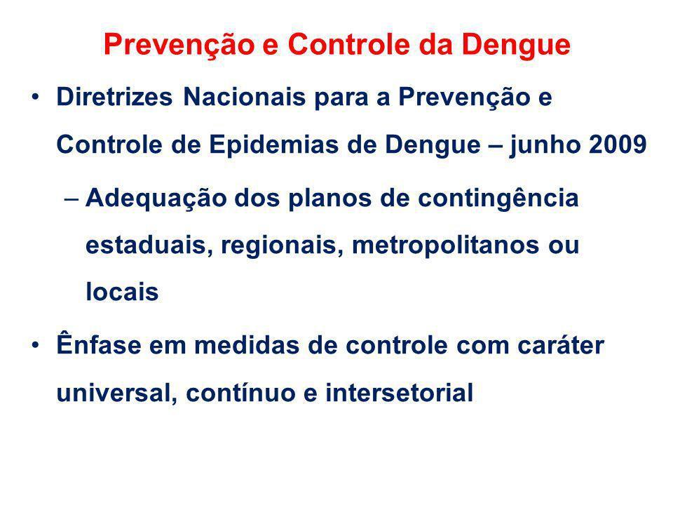 Prevenção e Controle da Dengue Diretrizes Nacionais para a Prevenção e Controle de Epidemias de Dengue – junho 2009 –Adequação dos planos de contingên